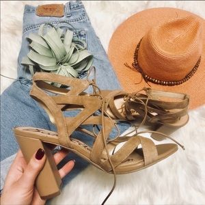 SAM EDELMAN Suede Strappy Leather Sandals Heels